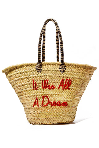 "POOLSIDE Long Handle Large Straw Tote - It Was All A Dream Bag | Red/ Zebra Print Handle| Poolside It Was All A Dream La Plage Embroidered Straw Tote Handcrafted straw bag Long Zebra print handles Open top Red embroidery - It Was All A Dream Measurements: 22""L x 10.5""W x 14""H Drop: 11"""