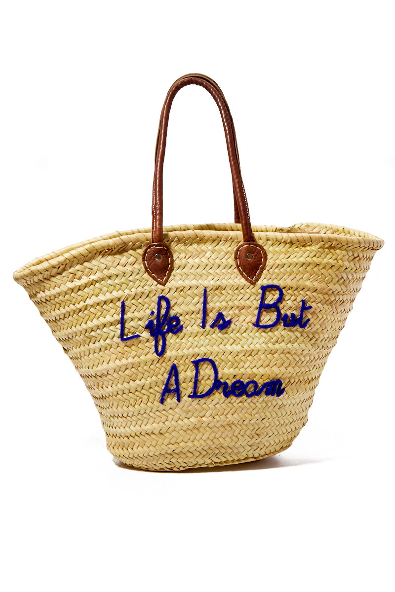Long Handle Large Straw Tote - Life Is But A Dream