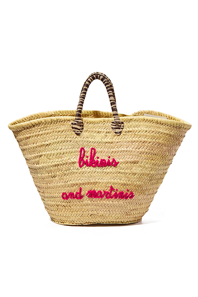 Large Straw Tote - Bikinis and Martinis