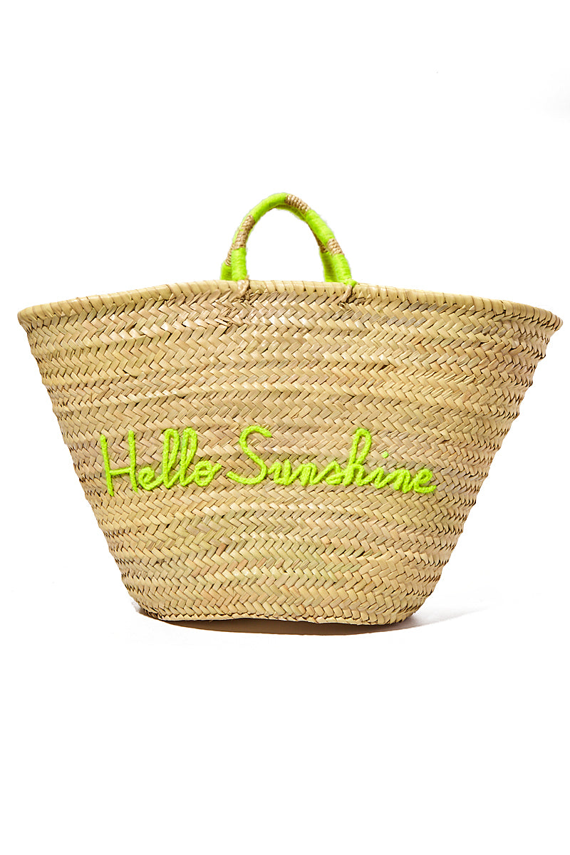 Large Straw Tote - Hello Sunshine