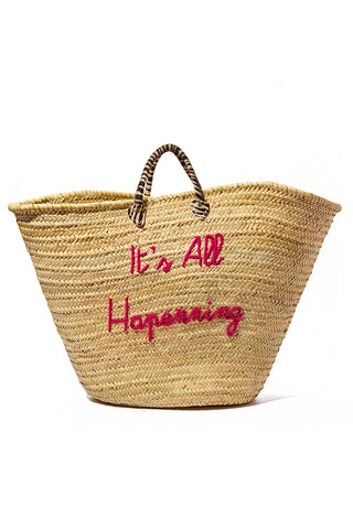"POOLSIDE Oversized Straw Weekender Bag - It's All Happening Bag | Fuschia/Zebra Print Handle| Poolside It's all Happening Grande Maman Embroidered  Straw Bag Extra large handcrafted straw bag Short Zebra print handles Open top Fuchsia embroidery - It's All Happening  Bag: 20""H x 30""W Top, 23""W Mid, 12""W Bottom Drop: 6"""