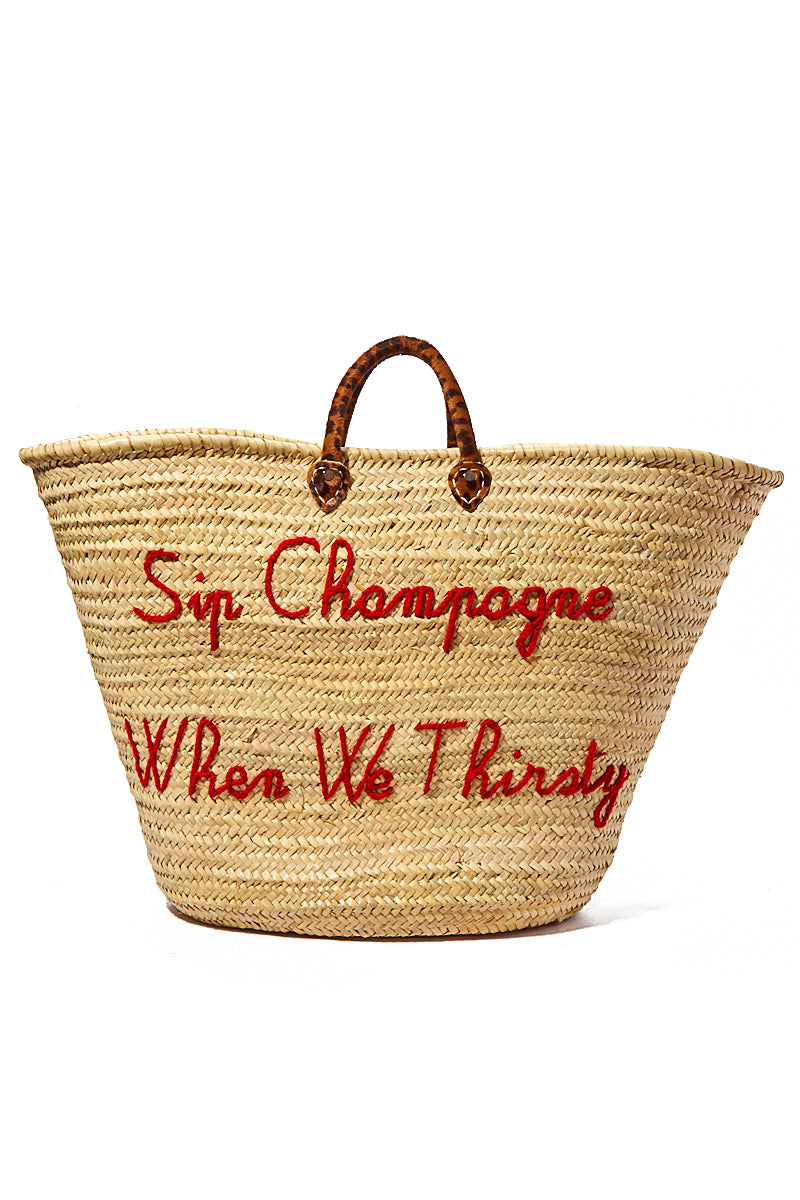 Oversized Straw Weekender Bag - Sip Champagne