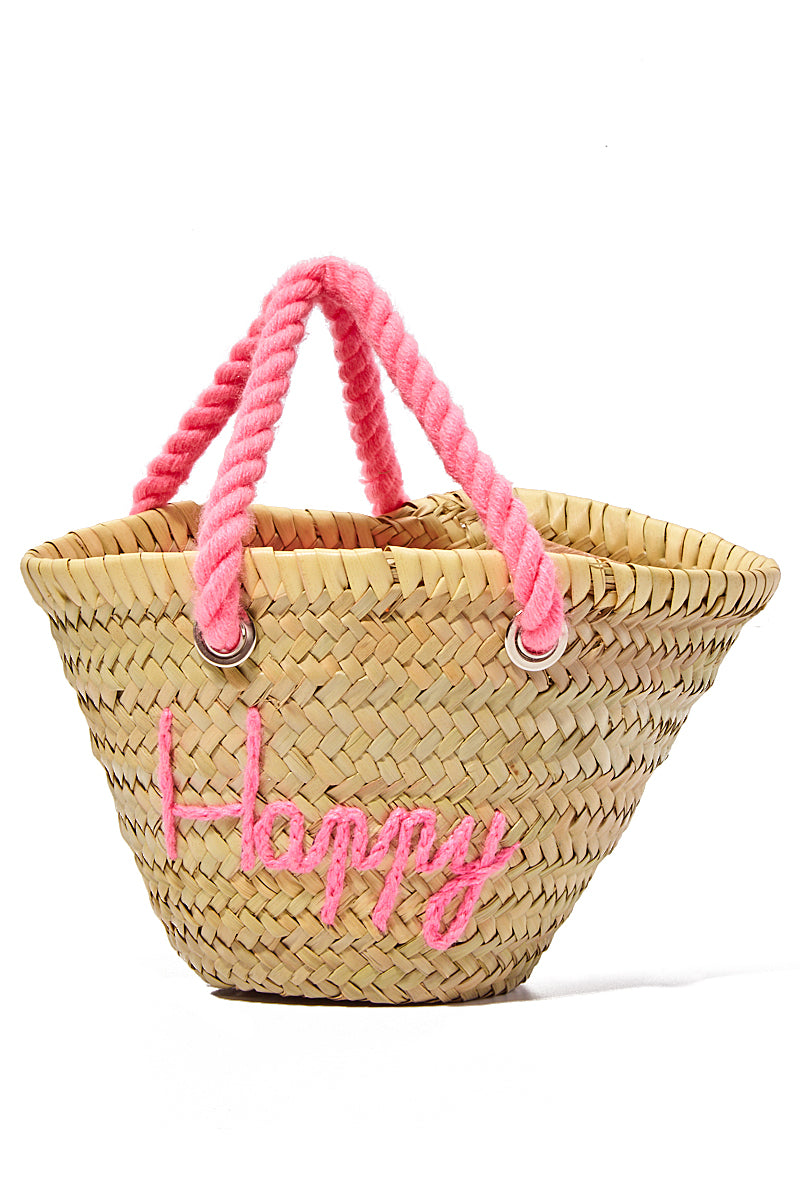 Mini Straw Handbag - Happy