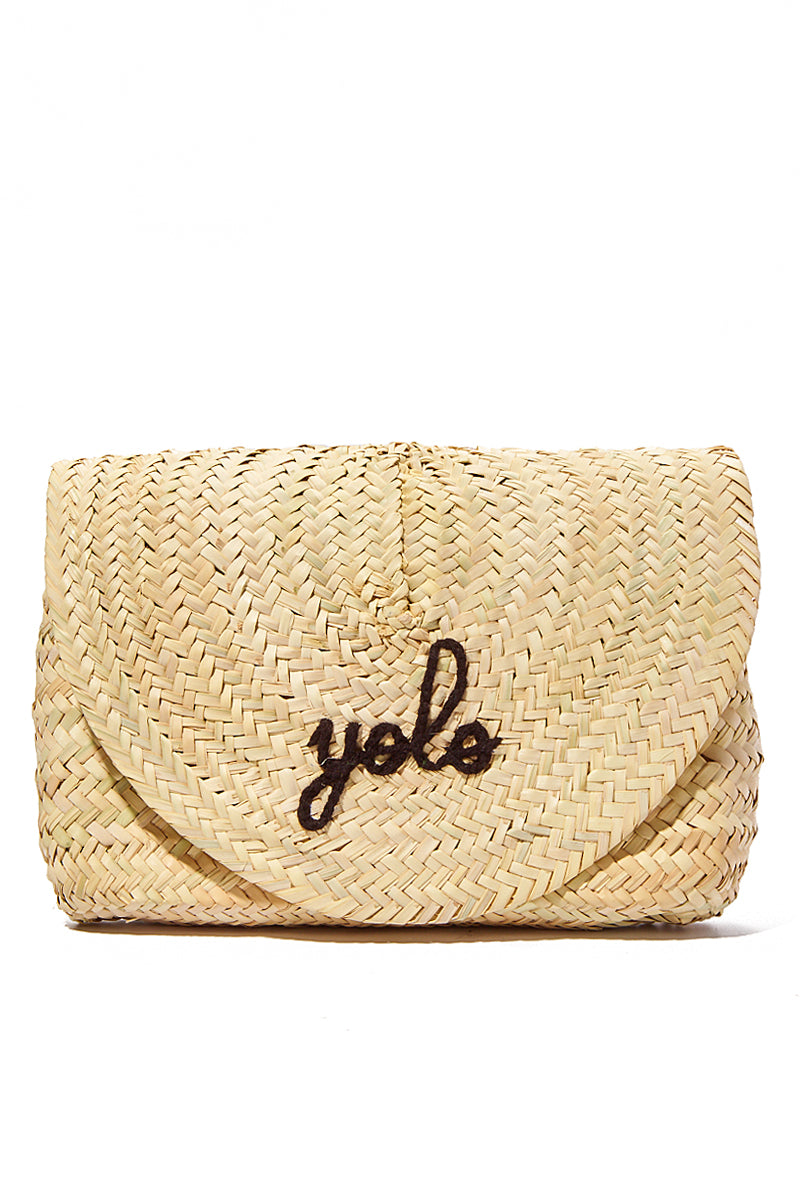 Straw Envelope Clutch - yolo