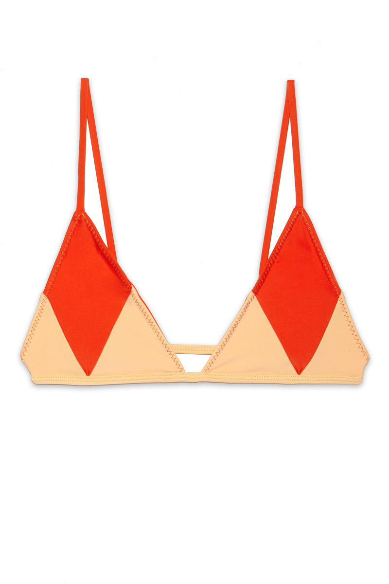 Arnie Color Block Triangle Bikini Top - Pomelo Orange/ Nude
