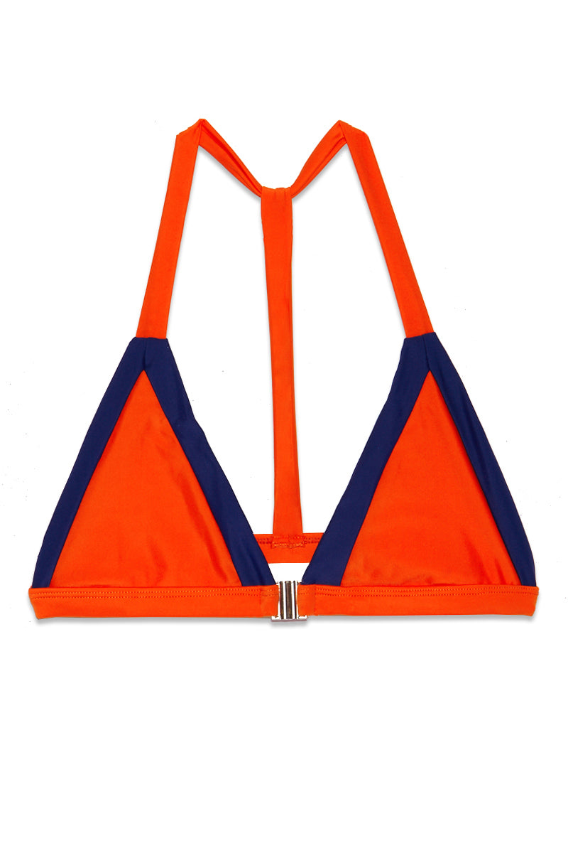 James Color Block Triangle Bikini Top - Pomelo Orange/ Lapis Blue