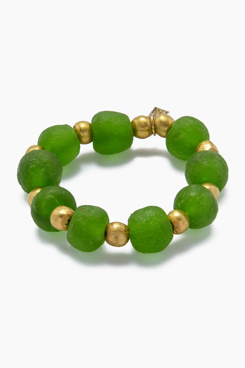 Ghana Glass And Brass Bead Stretch Bracelet - Emerald
