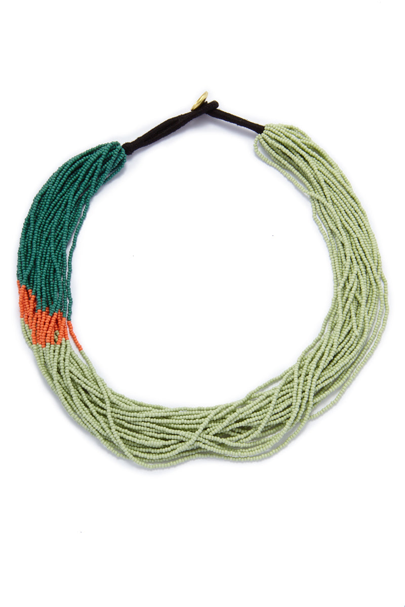 Seed Bead Necklaces - Mint/Coral/Teal