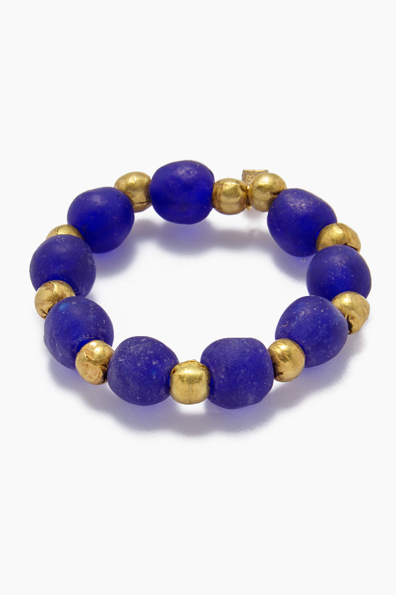 Ghana Glass And Brass Bead Stretch Bracelet - Cobalt