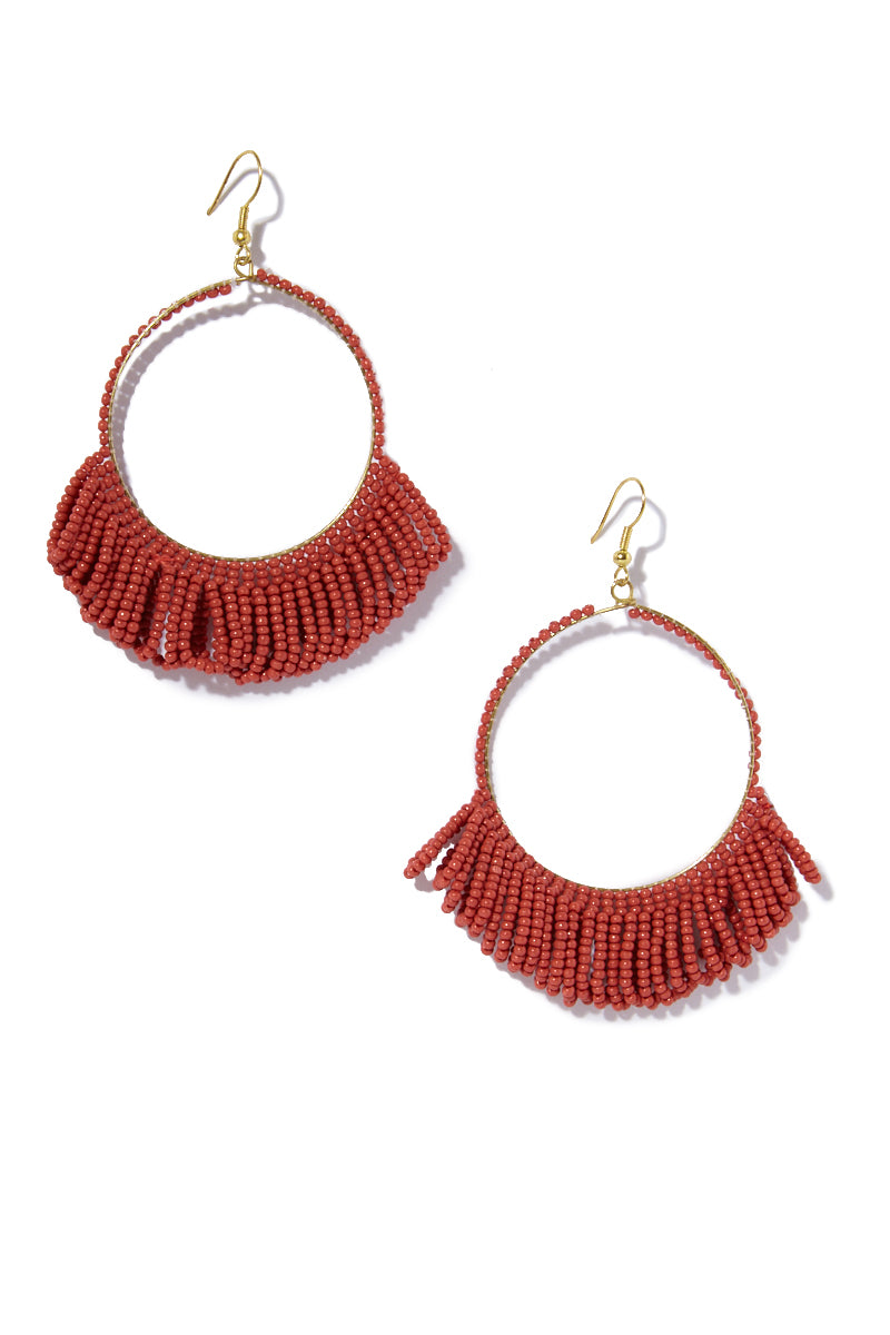 Seed Bead Hoop Earrings With Fringe  - Terra Cotta