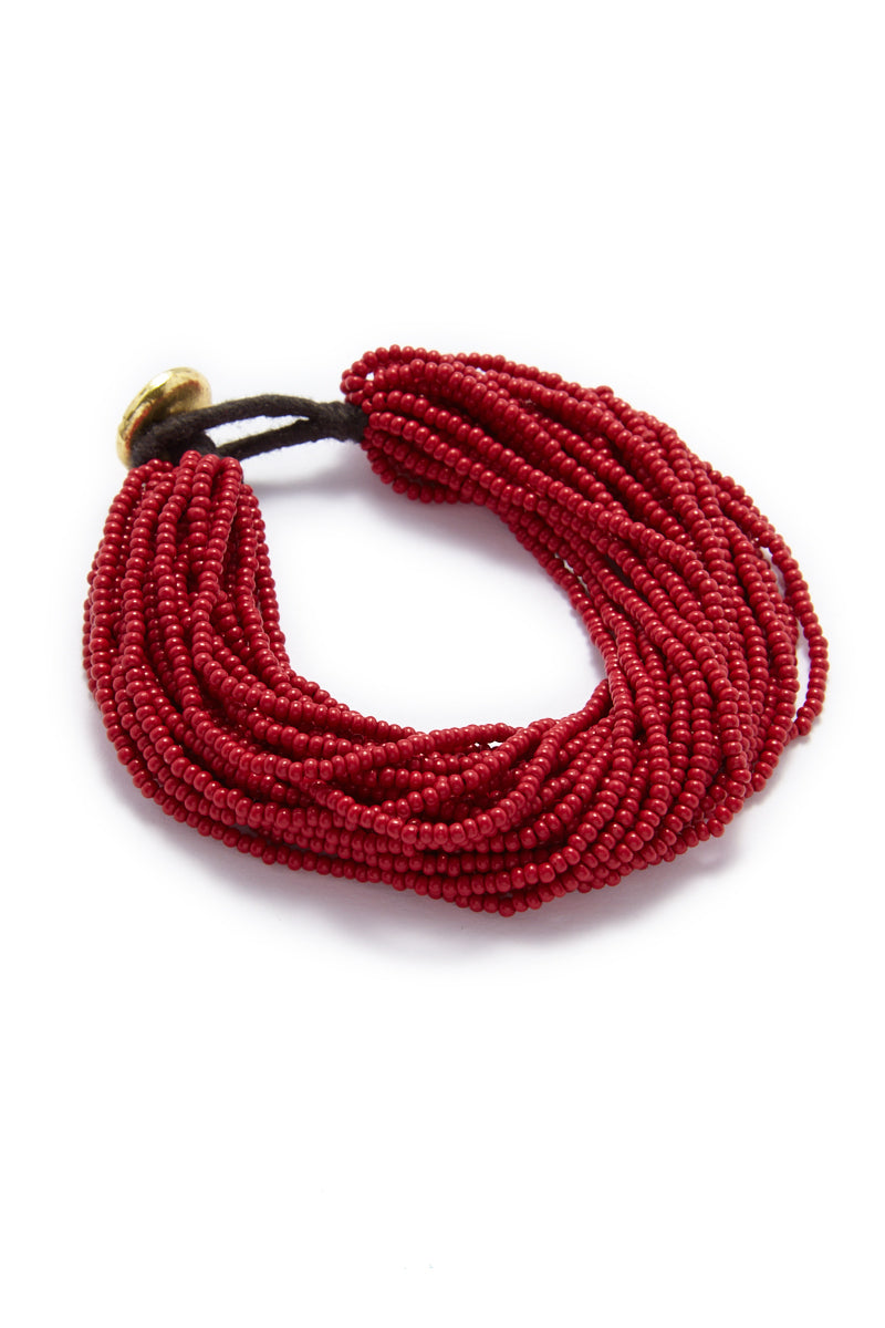 Seed Bead Multi-Layer Bracelet - Red