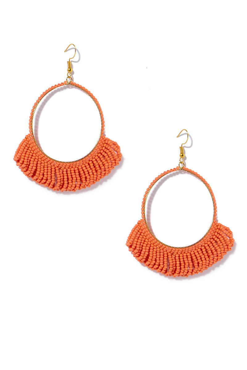 Seed Bead Hoop Earrings With Fringe - Coral
