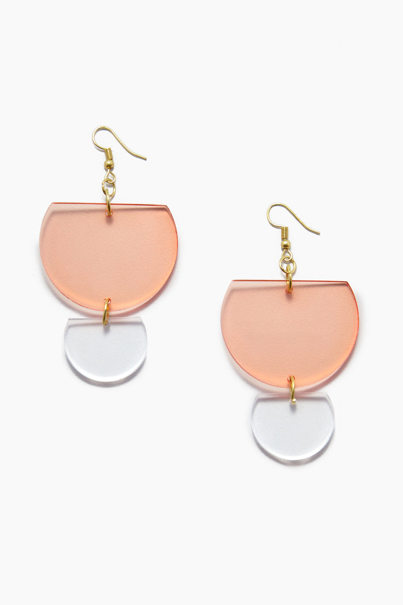 Lucite Double Half-Round Earrings - Watermelon