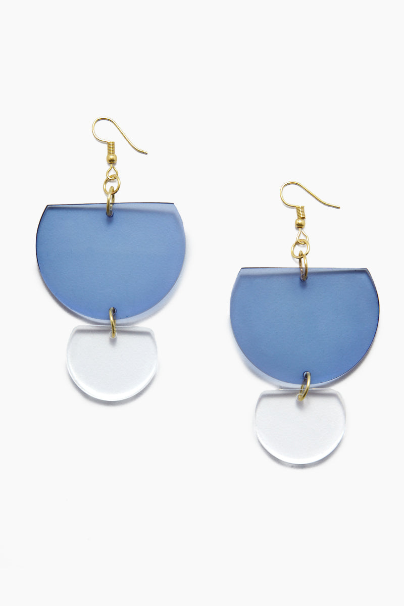 Lucite Double Half-Round Earrings - Lapis