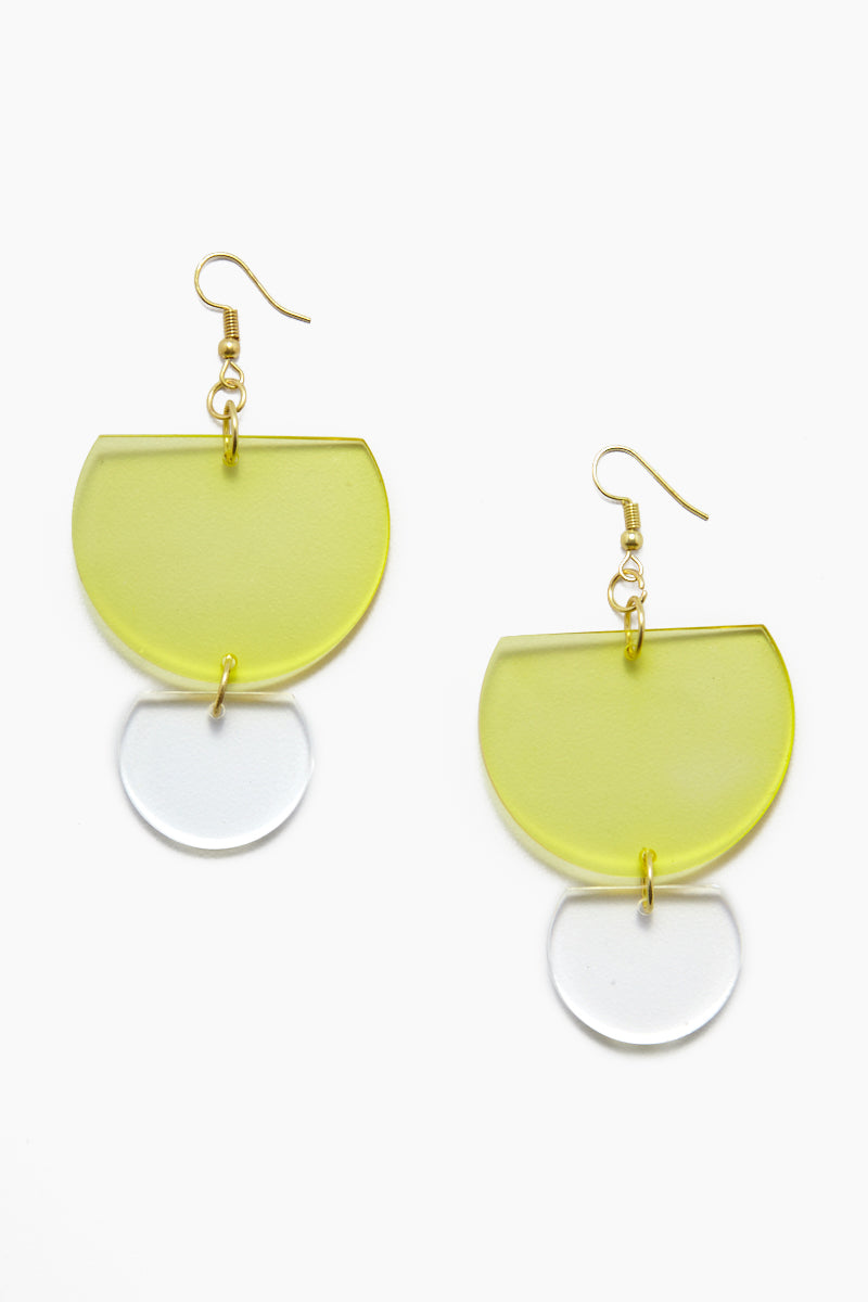 Lucite Double Half-Round Earrings - Chartreuse