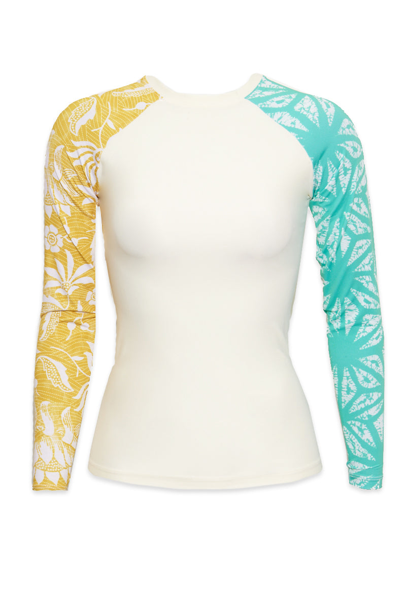 Doheny Color Block Long Sleeve Rashguard - Fiori Yellow & Green Floral Print