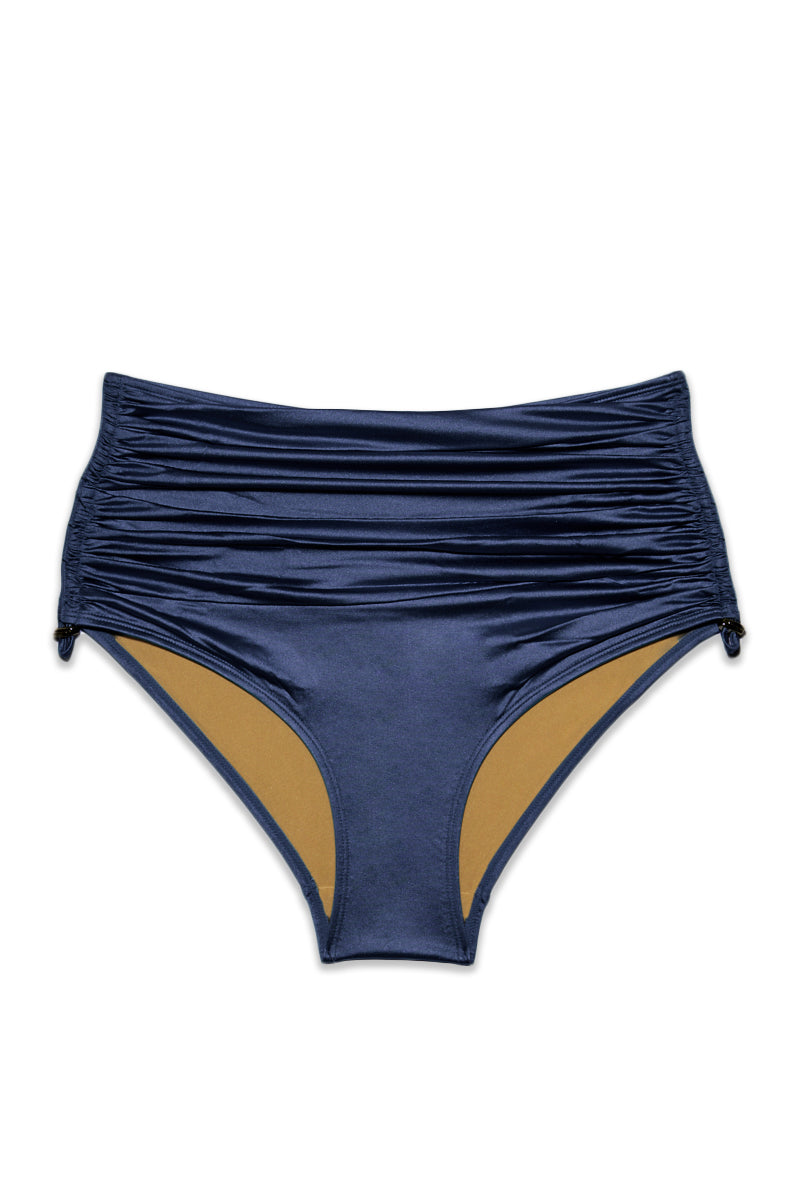 Holi Glamour High Waist Bikini Bottom - Navy Blue
