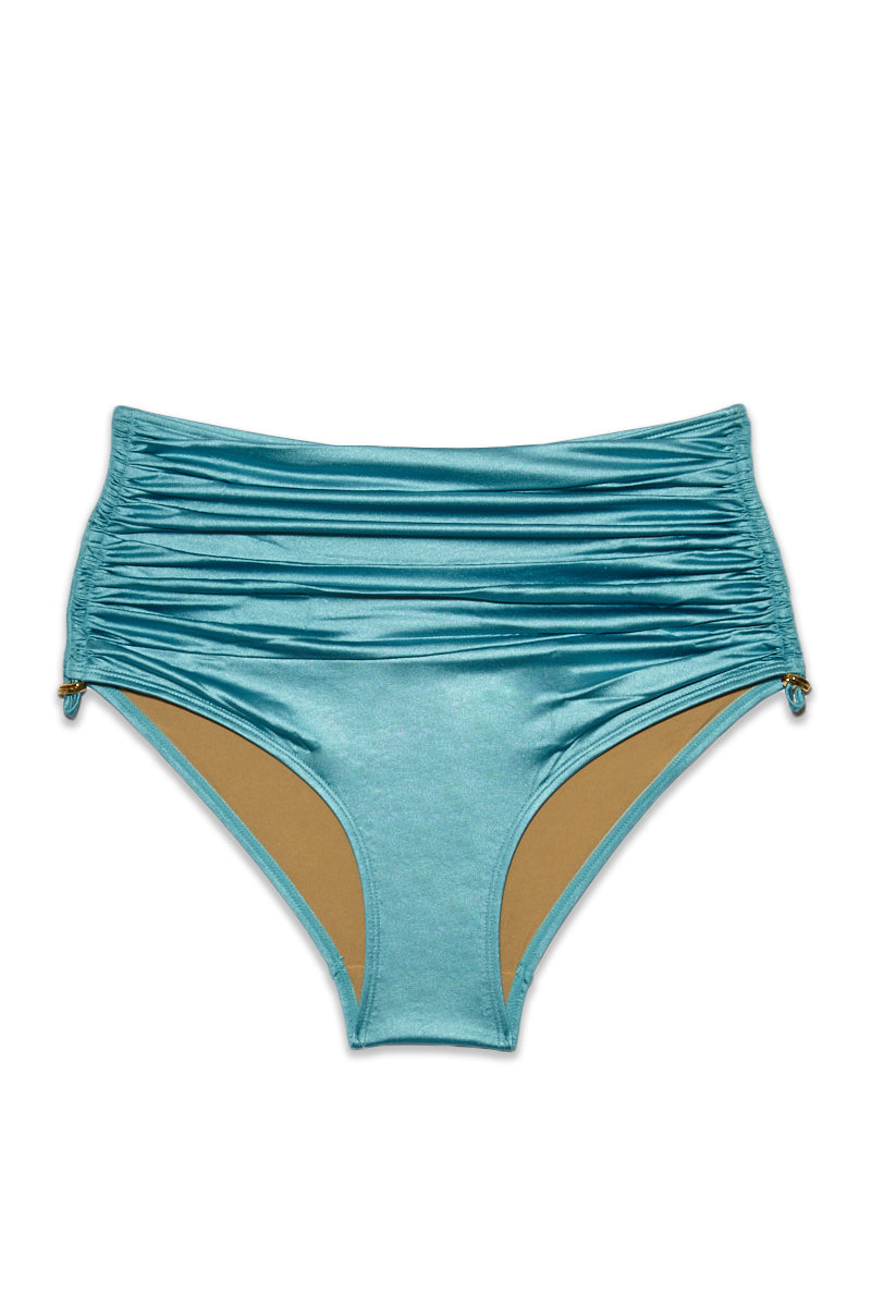 Holi Glamour High Waist Bikini Bottom (Curves) - Aqua Blue