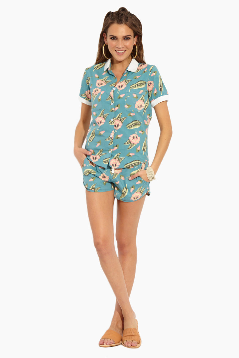 Heated Shorts - Hawaiian Blue Tropical Print