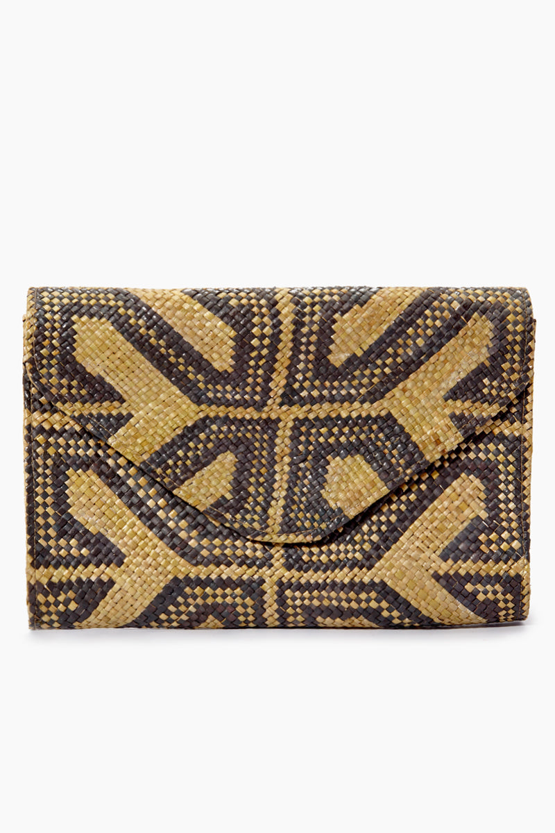 Embroidered Envelope Clutch - Sacred Black Geometric Print