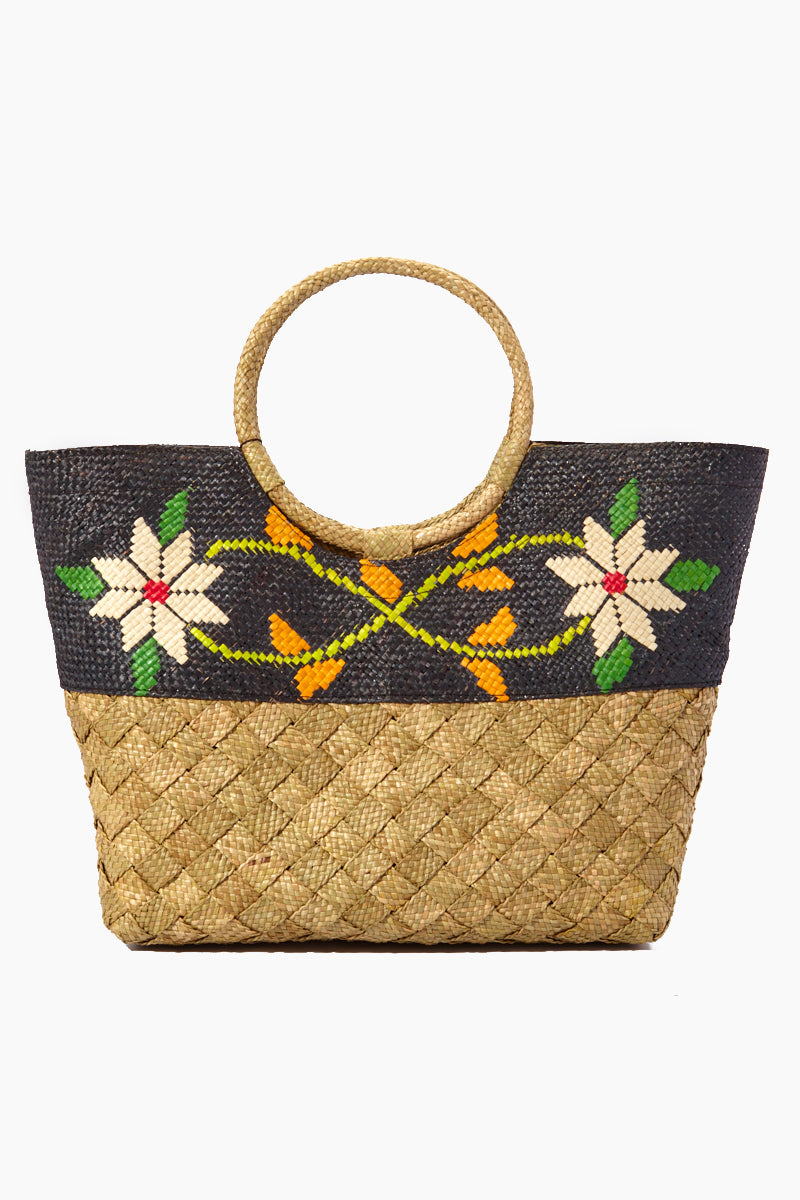 Olivia Color Block Woven Large Tote - Black Floral Print & Brown