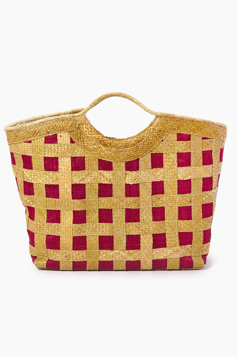 Liliana Diagonal Weave Large Tote - Fuchsia Pink & Brown