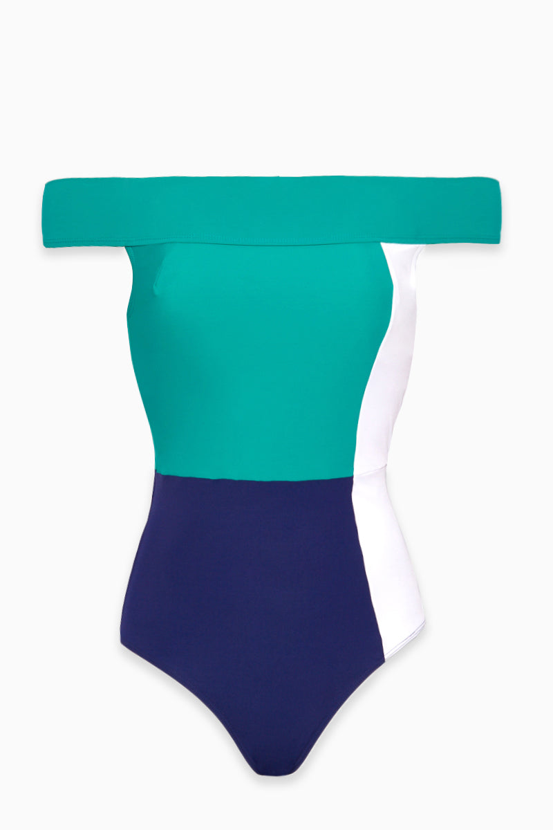 The Gia Color Block Off Shoulder One Piece Swimsuit - Navy Blue/White/Sea Green