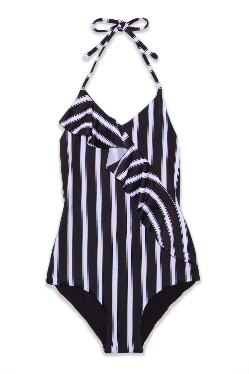 Angi Ruffle Halter One Piece Swimsuit (Kids) - Black & White Stripe Print
