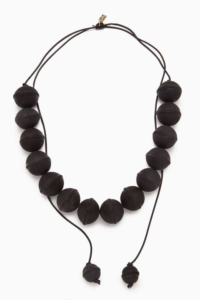 Leather Beaded Necklace - Black
