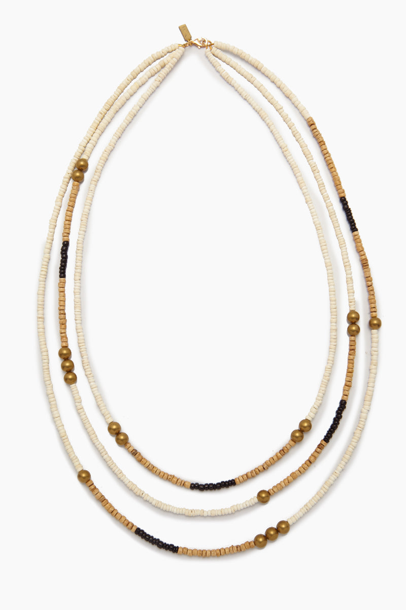 Long Triple Strand Natural Coconut Necklace - White & Black