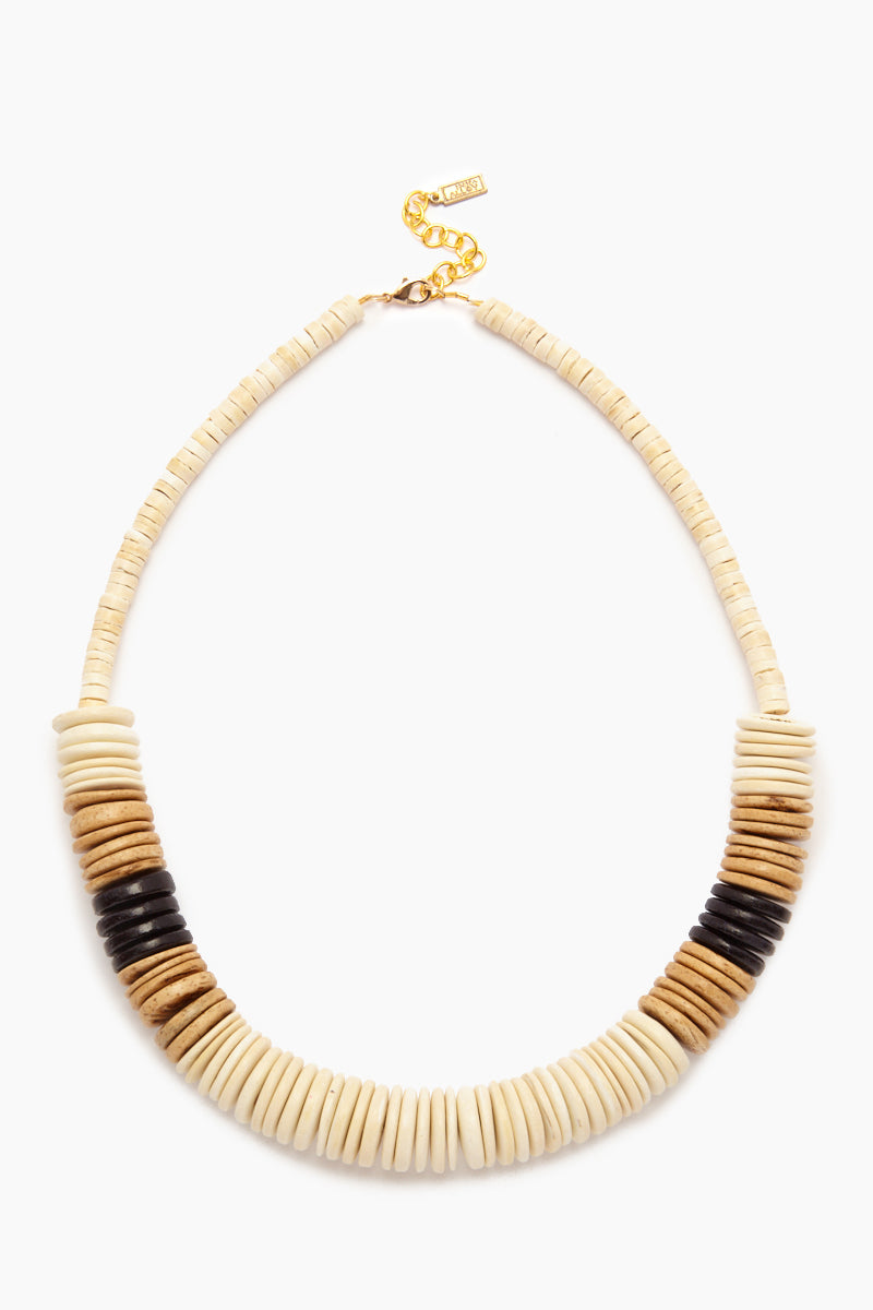 White Bold Coconut Pucalet Short Necklace - Natural & Black Accent