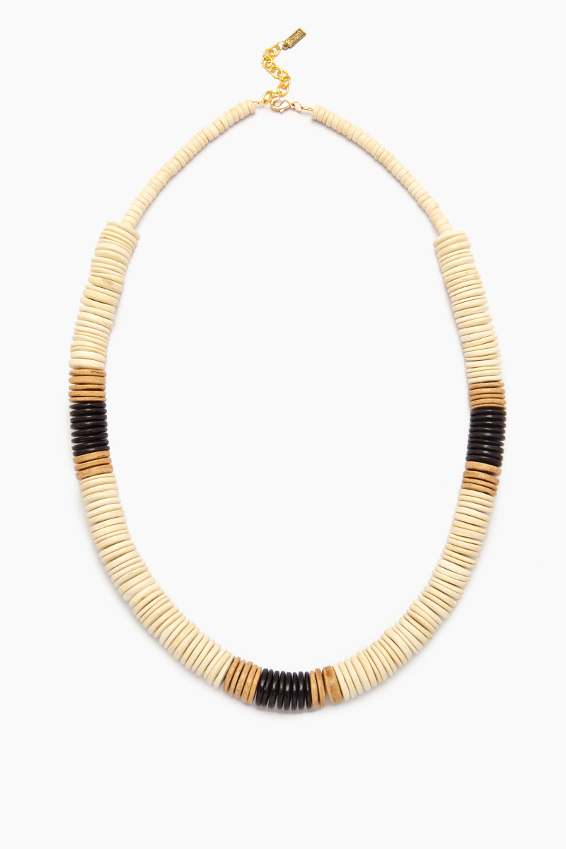 White Bold Coconut Pucalet Long Necklace with Natural and Black Accents