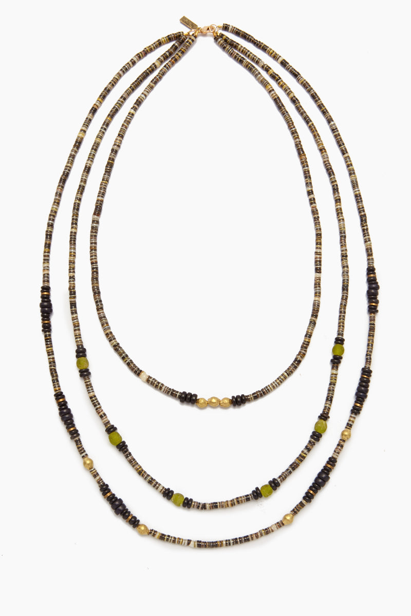 Shell Necklace - Blackshell, Brass & Glass Triple Strand