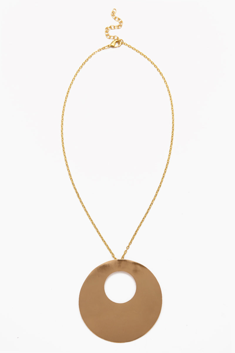 Circle Within Circle Pendant Necklace - Brass