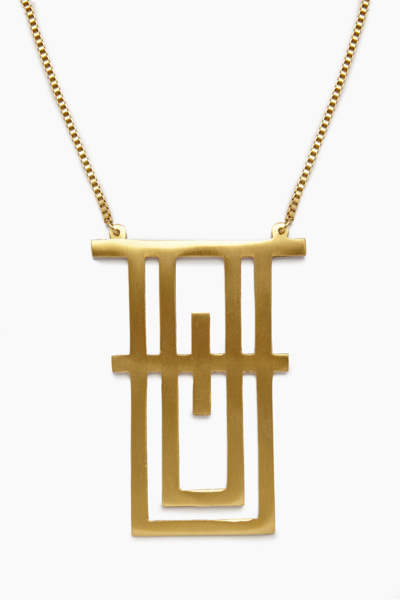 Geometric Tower Necklace - Brass