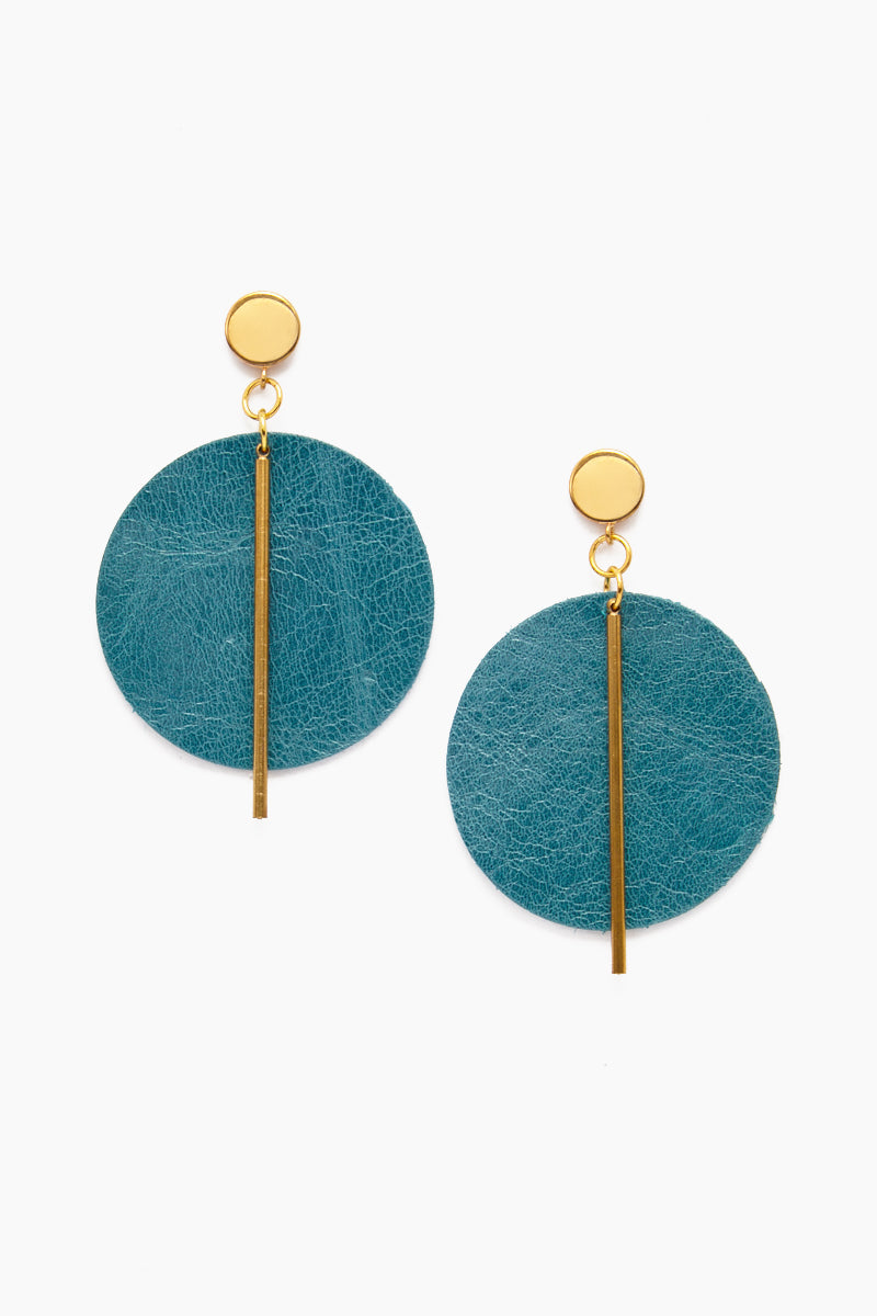 Leather Circle With Brass Post Earrings - Peacock
