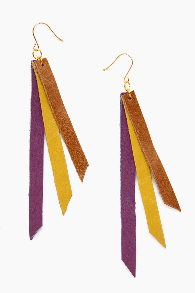 Leather Triple Strip Earrings - Lilac, Chartreuse & Cognac