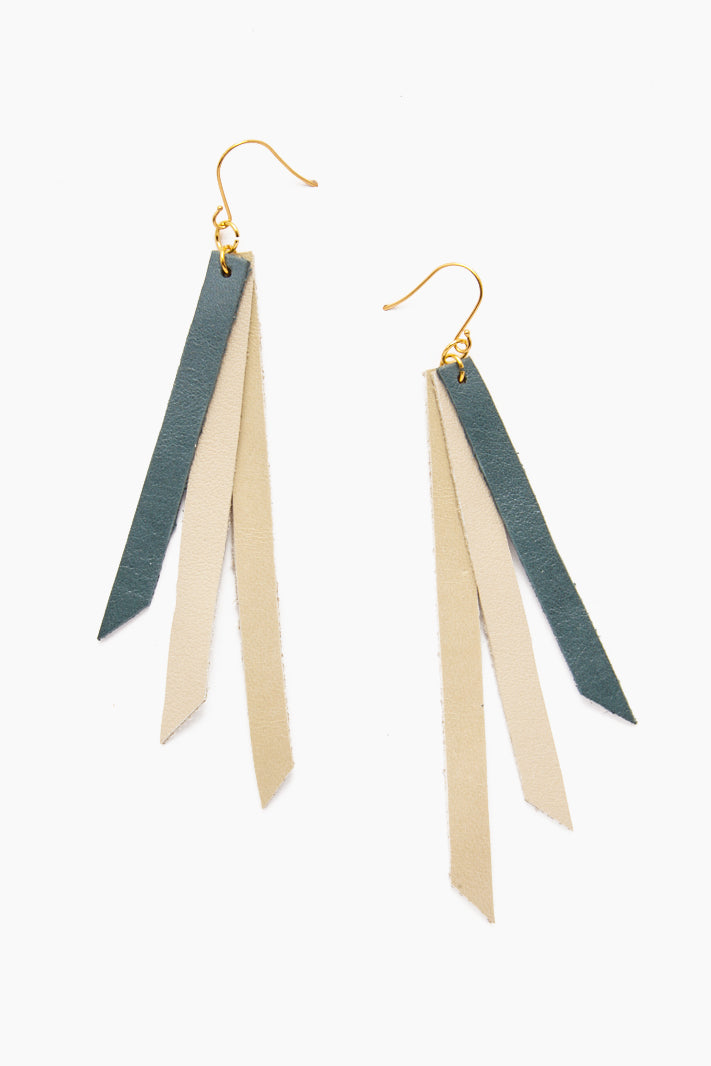 Leather Triple Strip Earrings - Teal, Citrine & Cream