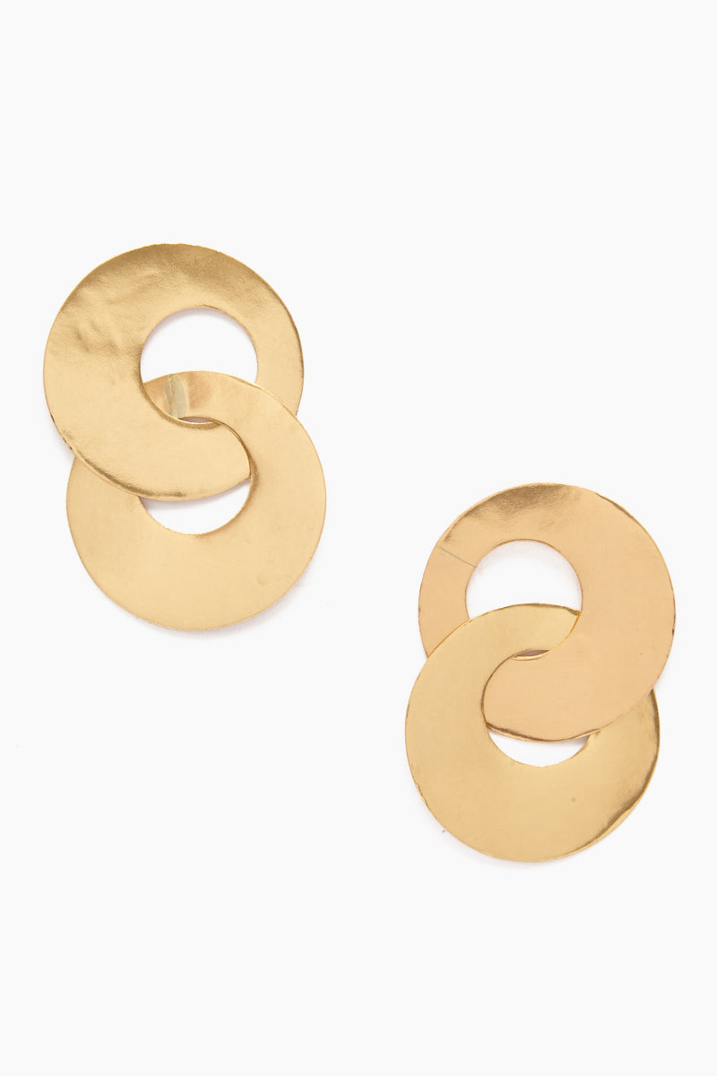 Large Double Circle Earrings - Brass