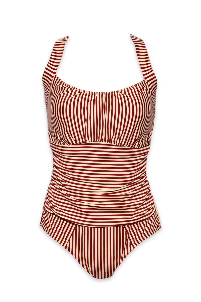 Holi Vintage Underwire Padded One Piece Swimsuit - Red & White Stripe Print