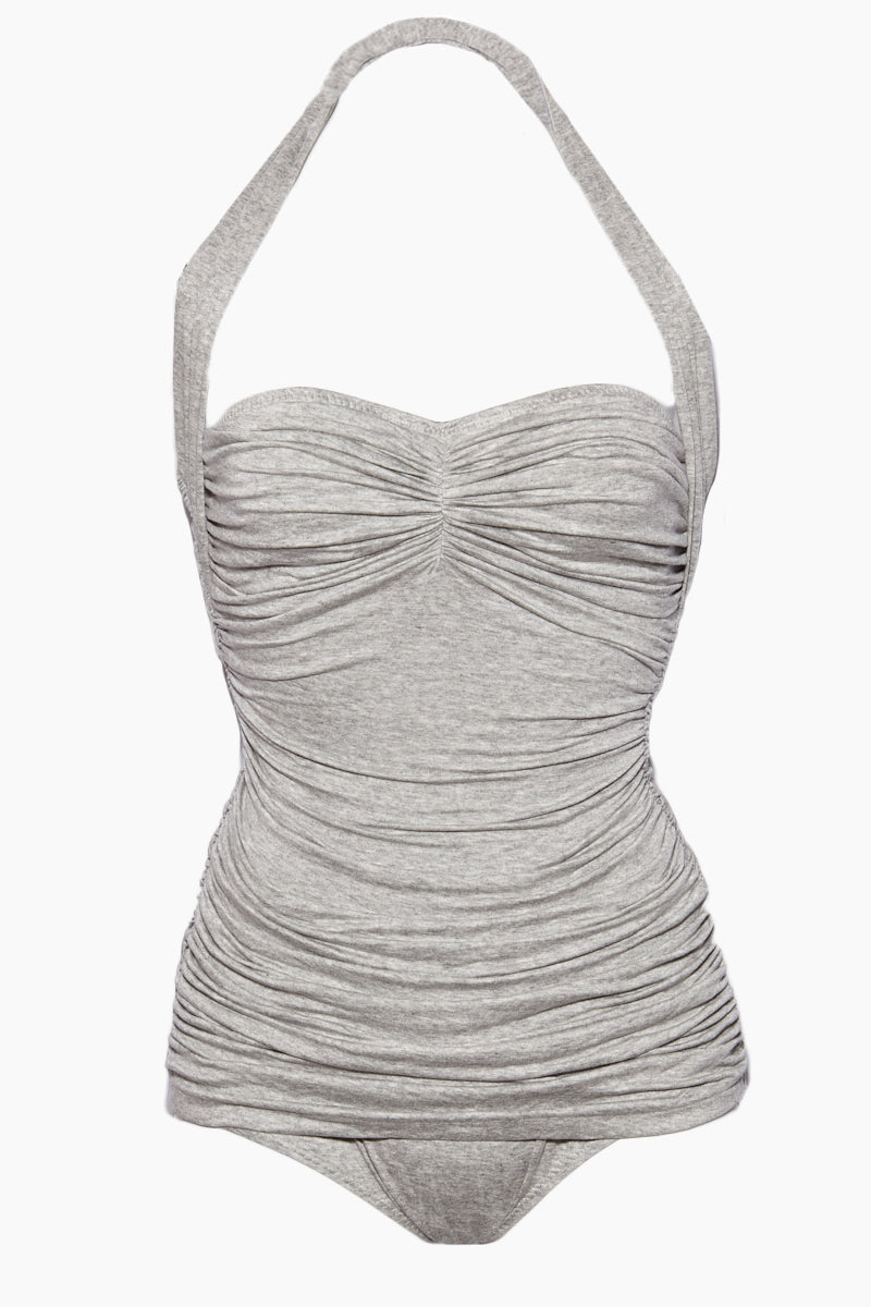 NORMA KAMALI Bill Mio - Light Grey One Piece | Light Grey|Bill Mio - Features:  Halter strap one piece  Sweetheart neckline Great for curves Shirred sides High cut leg Full bottom coverage Wrinkle free