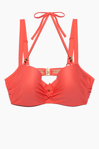MARLIES DEKKERS La Flor Wired Padded Plunge Balcony Bikini Top (Curves) - Salmon Bikini Top | Salmon| Marlies Dekkers La Flor Wired Padded Plunge Balcony Bikini Top (Curves) - Salmon. Flat Lay View. Features:  Underwired bikini top Supportive, padded Adjustable straps Extra support with halter neck tie Sculpted flower with petals and fold-colored heart at the center Straps with glossy beads Salmon color