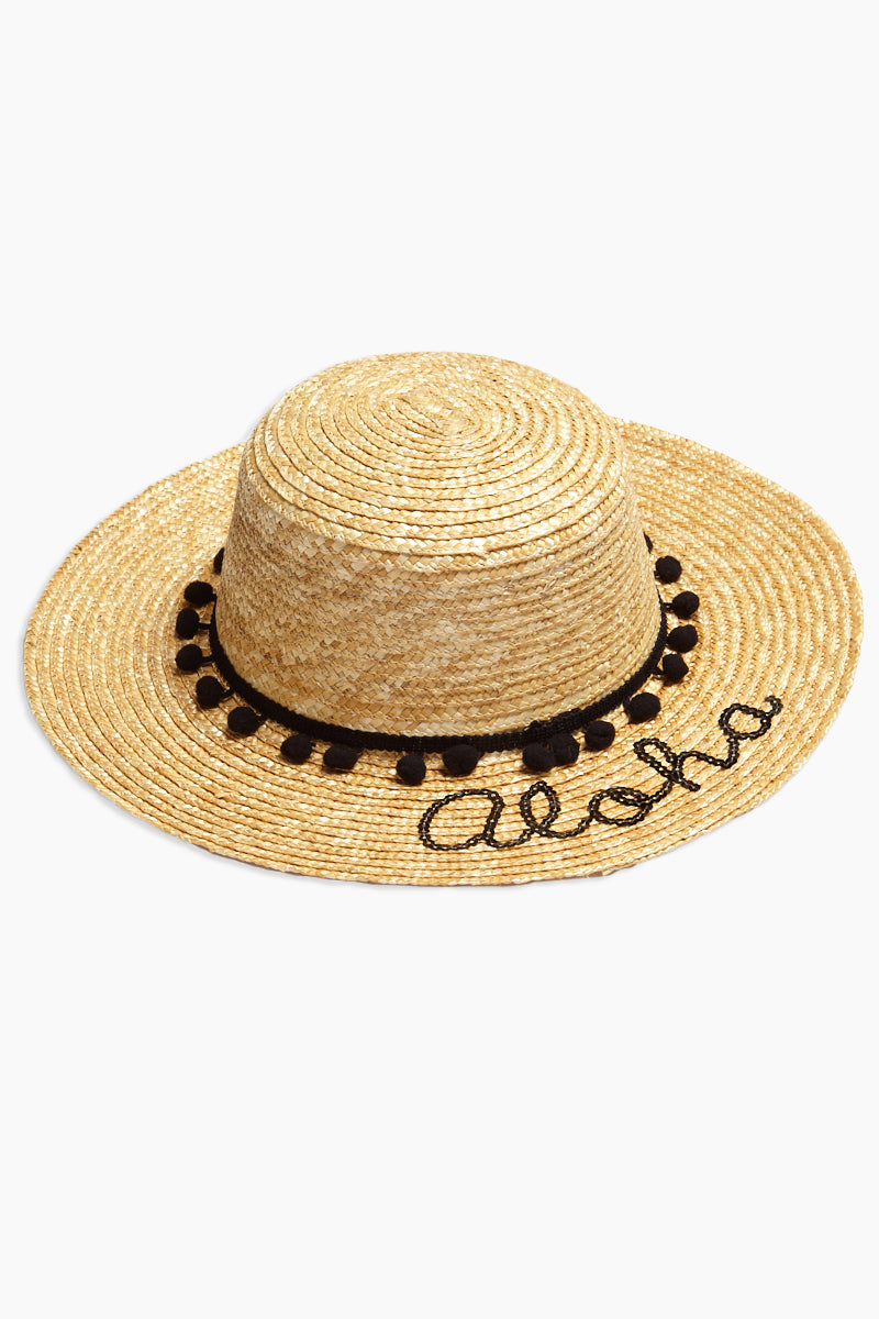 Pom Band Aloha Slogan Straw Boater Hat - Natural