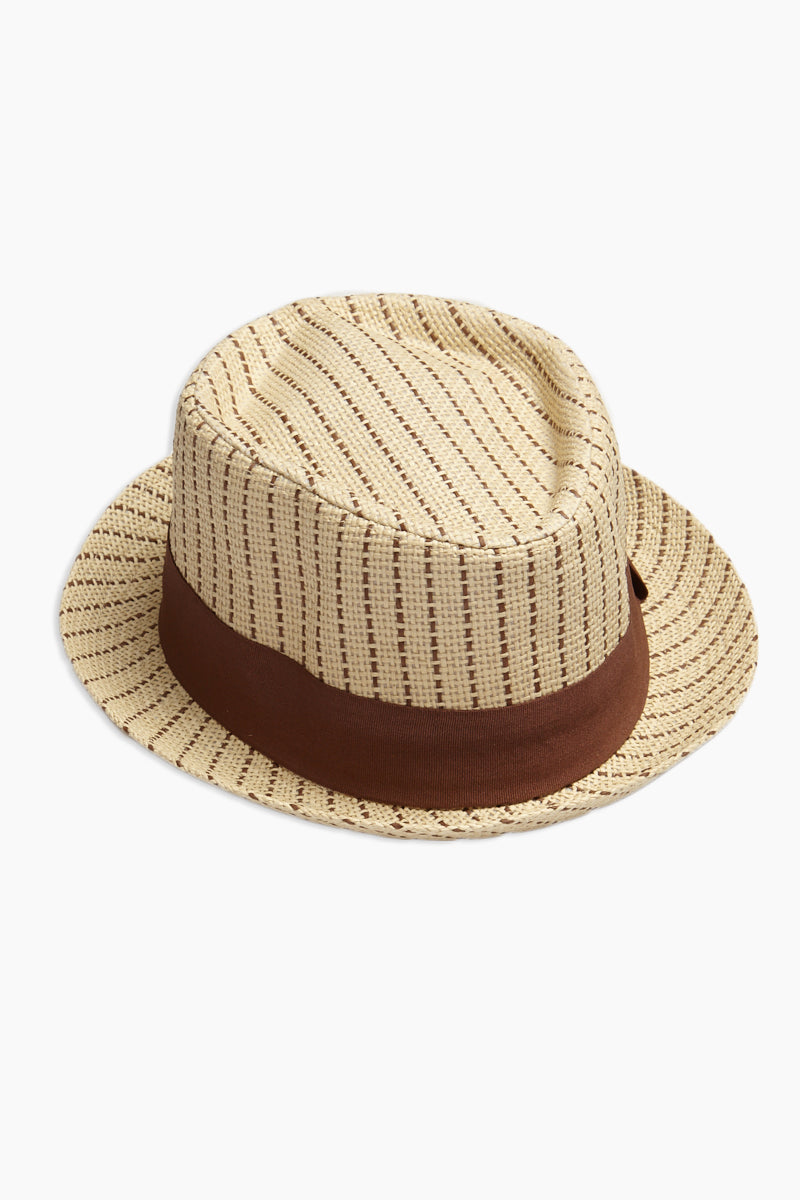 Dashed Straw Fedora - Tan & Brown Stripe Print