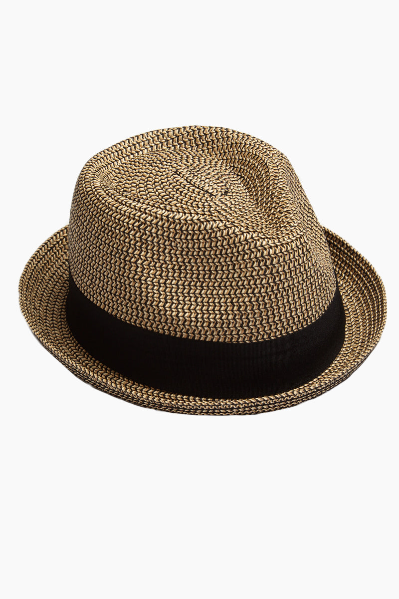 Straw Pork Pie Hat - Brown