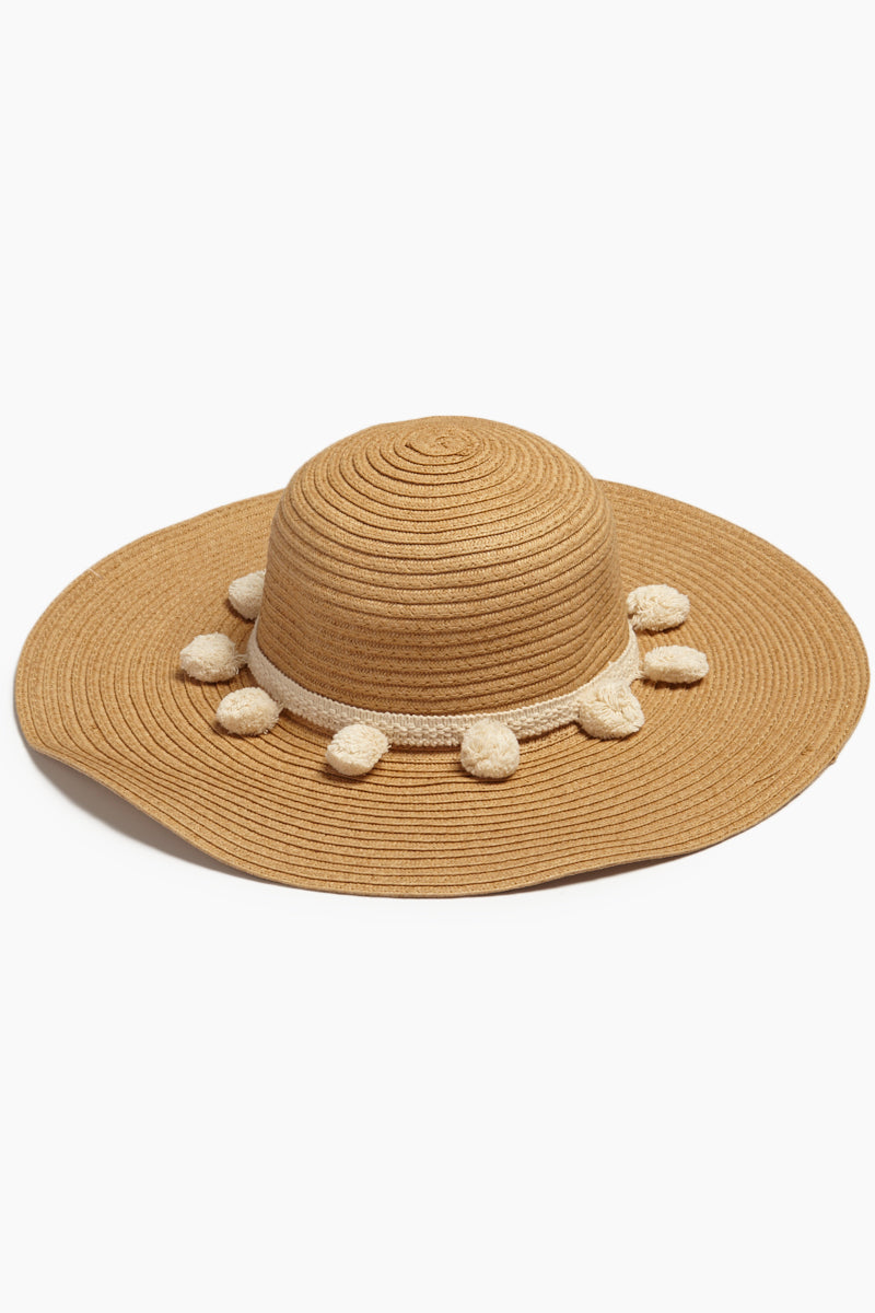 Pom Pom Floppy Sun Hat - Brown