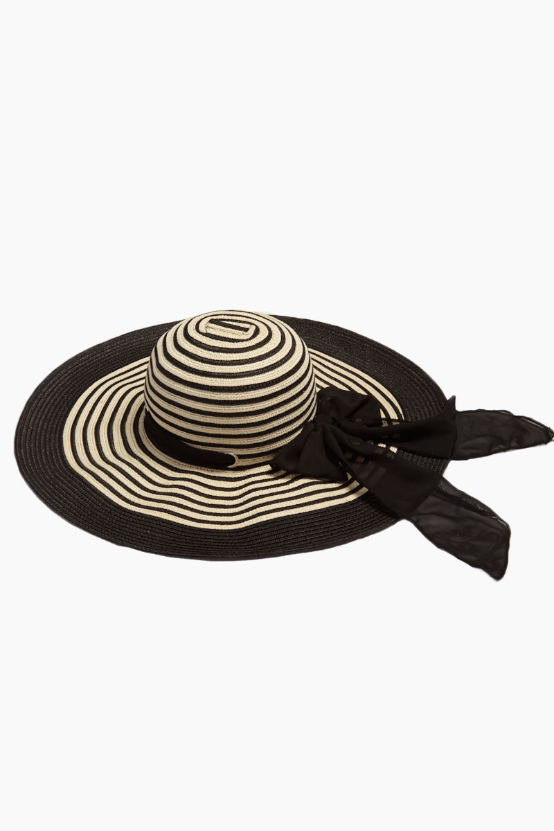 Striped Straw Floppy Sun Hat With Bow - Black