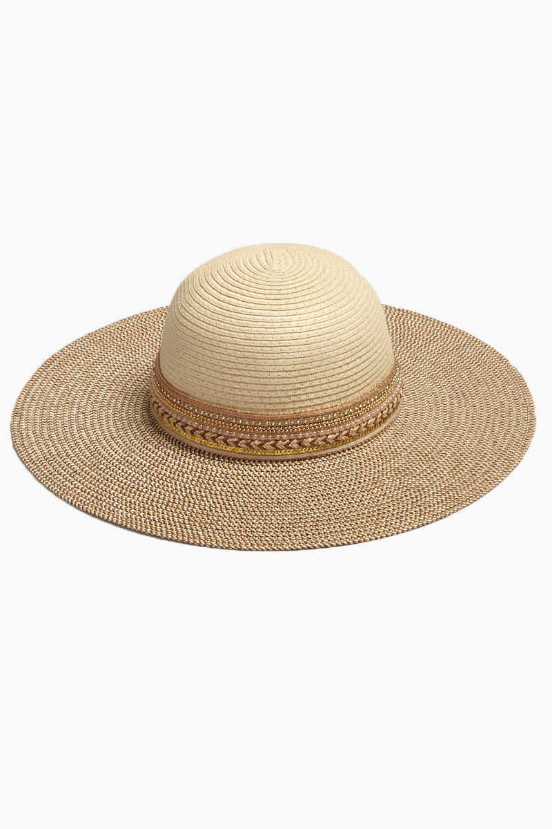 Floppy Beaded Sun Hat - Natural Brown