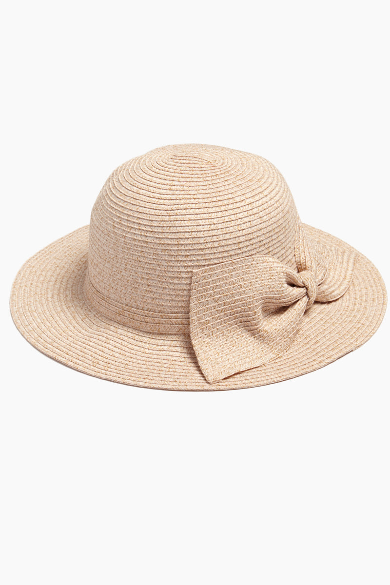 Straw Bucket Hat With Bow - Blush
