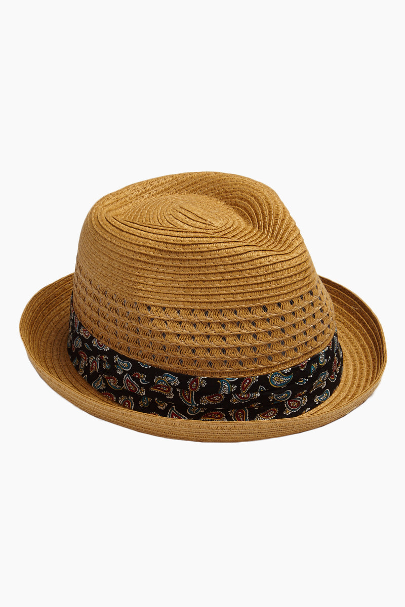 Banded Straw Fedora Hat - Brown & Black Paisley Print